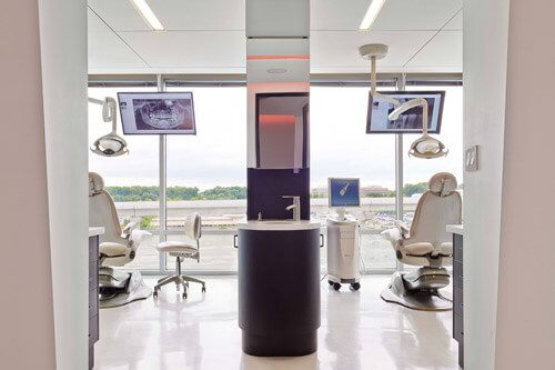 a peek into two dental exam rooms
